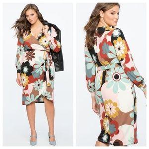 Retro Print Faux Wrap Dress